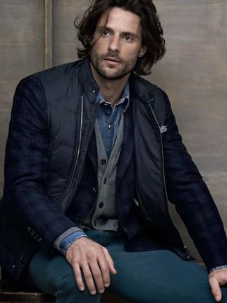 How to wear: black gilet, navy plaid blazer, grey cardigan, blue denim shirt