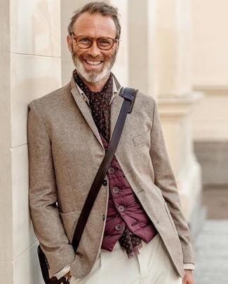 How to wear: burgundy gilet, brown herringbone blazer, white corduroy chinos, dark brown leather messenger bag