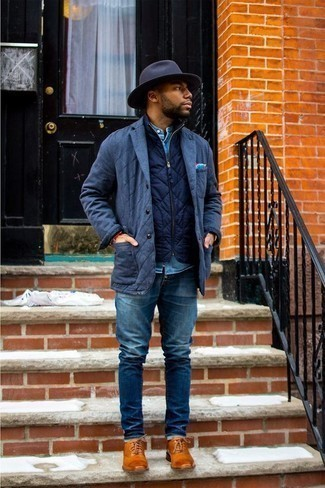 How to Wear a Light Blue Denim Shirt For Men: You'll be surprised at how very easy it is for any guy to get dressed like this. Just a light blue denim shirt married with blue jeans. If you wish to easily spruce up this ensemble with one item, why not complement this look with tobacco leather oxford shoes?