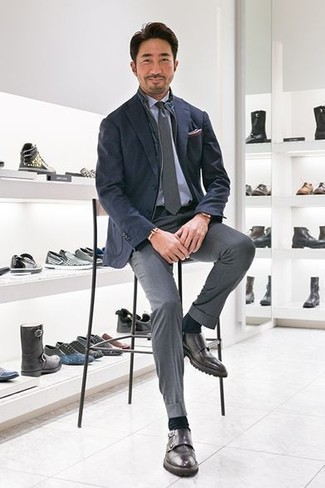 How to wear: navy gilet, navy blazer, light blue dress shirt, grey dress pants