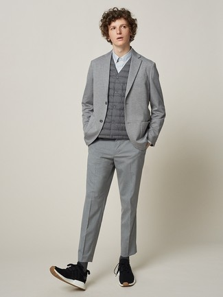 How to wear: grey gilet, grey knit blazer, grey dress shirt, grey dress pants