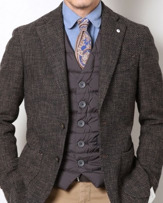 Slim Fit Houndstooth Dress Shirt Blue