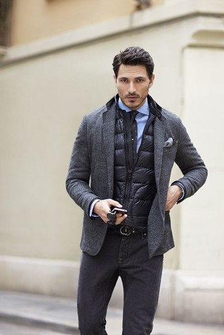 How To Wear A Puffer Vest: 4 Ways To Style A Down Vest   Men's Fashion : quilted jacket over suit - Adamdwight.com