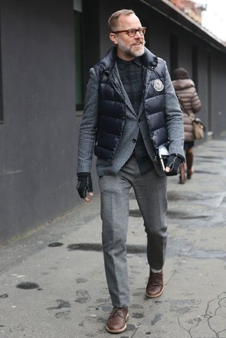 How to wear: black quilted gilet, grey herringbone wool blazer, black plaid long sleeve shirt, grey wool dress pants