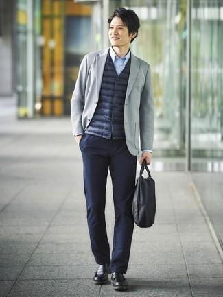 How to wear: navy gilet, grey knit blazer, light blue long sleeve shirt, navy chinos