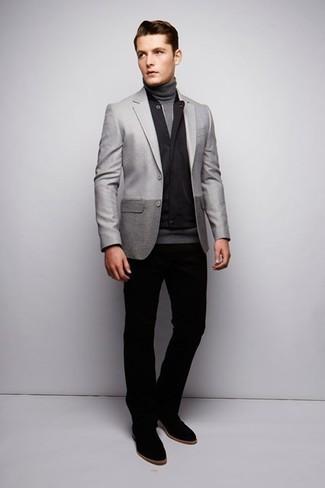 How to wear: black gilet, grey blazer, grey turtleneck, black chinos
