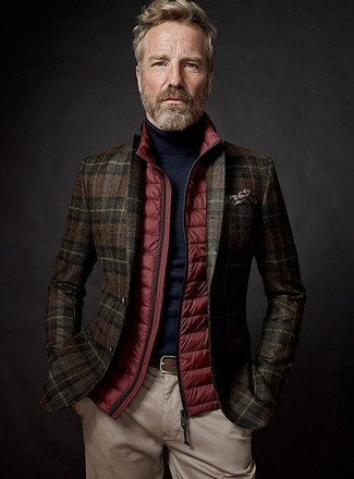 How to wear: red quilted gilet, dark brown plaid wool blazer, black turtleneck, beige chinos
