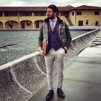 How to wear: grey gilet, olive wool blazer, navy waistcoat, light blue dress shirt