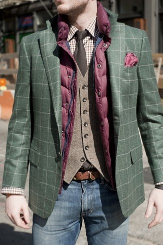 How to wear: purple quilted gilet, dark green plaid blazer, brown wool waistcoat, brown plaid dress shirt