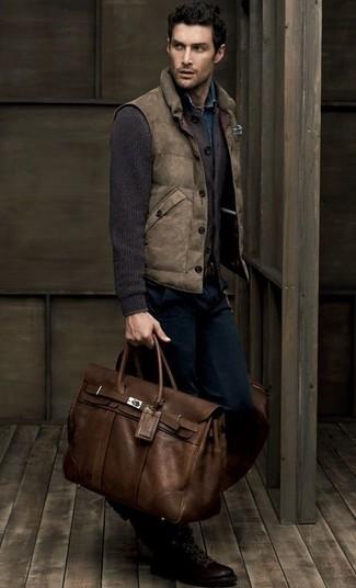 How to wear: brown gilet, dark brown knit cardigan, blue denim shirt, navy jeans