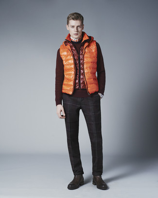 How to wear: orange quilted gilet, burgundy crew-neck sweater, dark brown plaid dress pants, dark brown leather chelsea boots