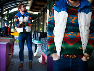 How to Wear a Multi colored Crew-neck Sweater For Men: For a casual ensemble, team a multi colored crew-neck sweater with navy jeans — these two pieces go really good together. A pair of brown leather casual boots easily turns up the style factor of this getup.
