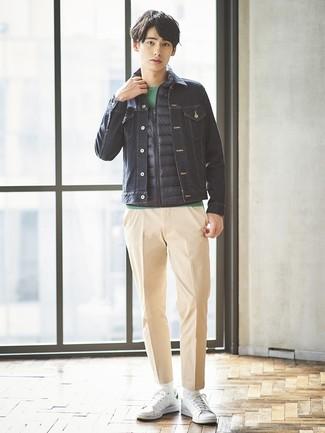 How to wear: navy gilet, navy denim jacket, green crew-neck t-shirt, khaki chinos