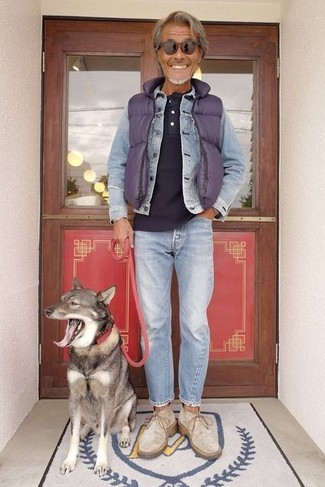 How to wear: violet quilted gilet, light blue denim jacket, navy henley shirt, light blue jeans