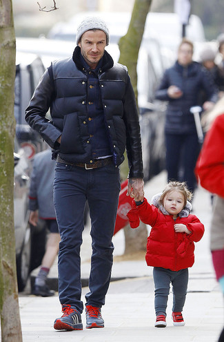 David Beckham wearing Navy Quilted Gilet, Navy Denim Jacket, Navy Jeans, Navy Athletic Shoes