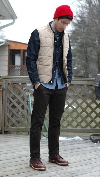 Red Beanie Outfits For Men: This casual pairing of a beige quilted gilet and a red beanie is a safe bet when you need to look cool in a flash. If you want to break out of the mold a little, introduce dark brown leather casual boots to this look.