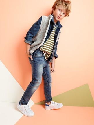How to wear: grey gilet, navy denim jacket, olive horizontal striped t-shirt, navy jeans