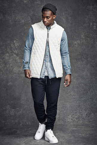If you're searching for a casual yet sharp look, consider pairing a white gilet with a Cole Haan Lightweight Jersey Elongated Beanie. Both garments are totally comfortable and will look great together. Add a more relaxed twist to your look with white leather low top sneakers. Undoubtedly, an outfit like this will keep you warm and stylish during the fall.