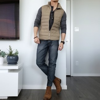 Charcoal Jeans Outfits For Men: This off-duty combination of a tan quilted gilet and charcoal jeans comes in handy when you need to look laid-back and cool but have zero time to spare. You can take the classic route with shoes by slipping into a pair of brown suede casual boots.