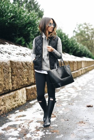 Satin Mesh Inset Puffer Vest Black