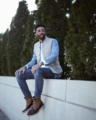 500+ Casual Outfits For Men: If you would like take your casual fashion game to a new level, reach for a light blue chambray long sleeve shirt and a white long sleeve henley shirt.