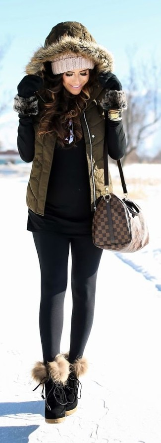 How to wear: olive quilted gilet, black turtleneck, black leggings, black suede lace-up ankle boots