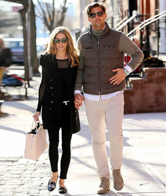 How to Wear Beige Leather Casual Boots For Men: This laid-back combo of a grey gilet and beige chinos is a lifesaver when you need to look laid-back and cool but have zero time. Beige leather casual boots are the simplest way to transform your outfit.