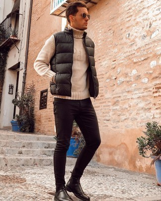 Gilet Outfits For Men: This combination of a gilet and black skinny jeans is extremely easy to imitate and so comfortable to sport over the course of the day as well! Black leather chelsea boots are the most effective way to breathe a sense of polish into your look.