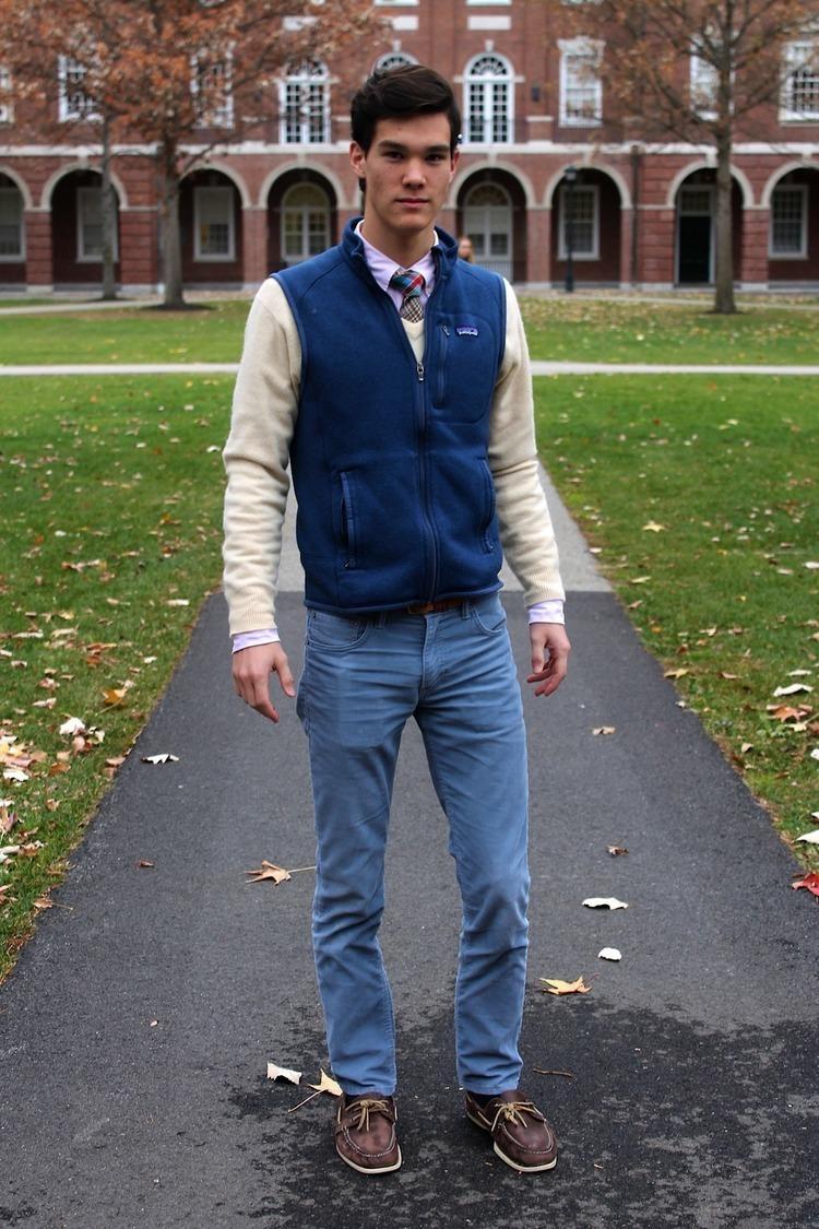 Men's Blue Wool Gilet, Beige V-neck Sweater, White Dress Shirt ...