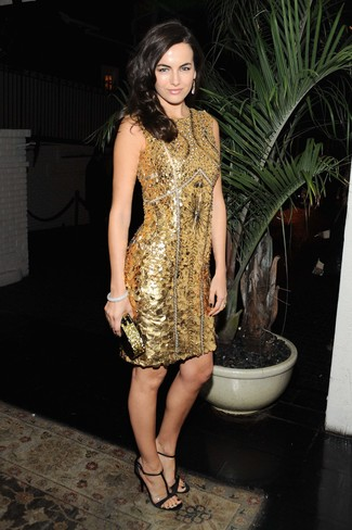 How to wear: gold beaded sheath dress, black leather heeled sandals, gold sequin clutch