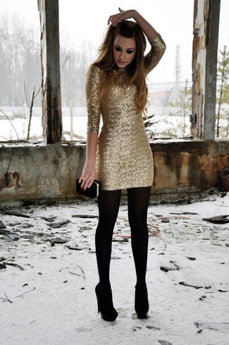 How to wear: gold sequin bodycon dress, black suede pumps, black suede clutch, black wool tights