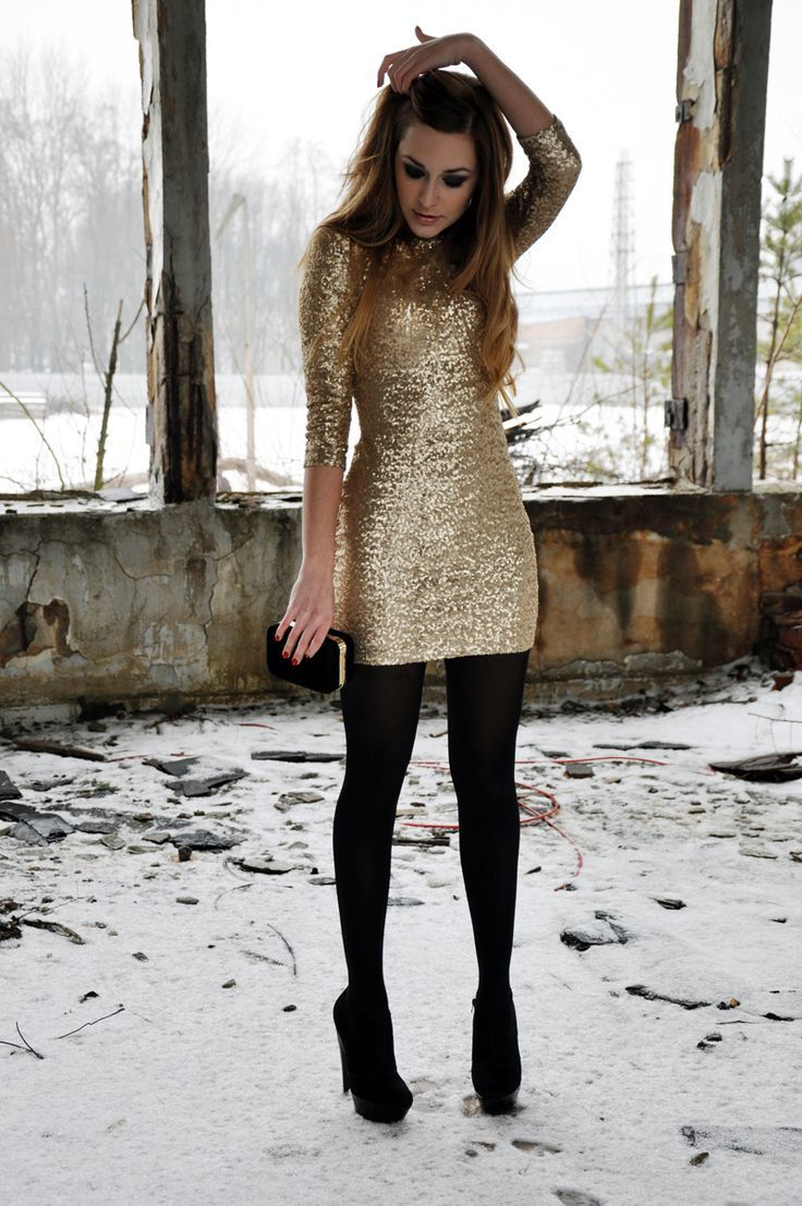 Women S Gold Sequin Bodycon Dress Black Suede Pumps Black Suede