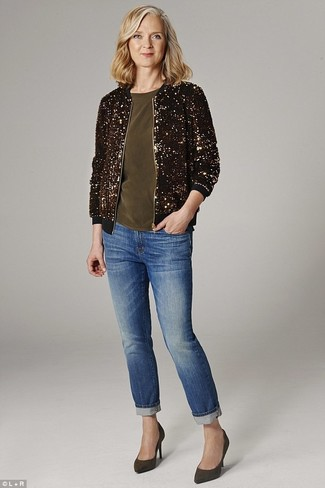 How to Wear a Gold Bomber Jacket For Women: Try pairing a gold bomber jacket with blue jeans for an everyday look that's full of charm and personality. If you feel like playing it up, add olive suede pumps to the mix.