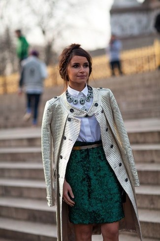Miroslava Duma wearing Gold Coat, White Dress Shirt, Dark Green Pencil Skirt, Dark Green Necklace
