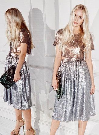 Women's Gold Sequin Cropped Top, Silver Pleated Sequin Midi Skirt, Gold Leather Heeled Sandals, Dark Green Sequin Clutch