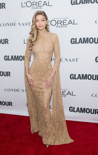 How to wear: gold embroidered evening dress, gold leather pumps, gold earrings, gold ring