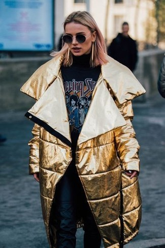 This combination of a gold puffer coat and The Row Leather Straight Leg Pants is so easy to copy and so comfortable to sport as well! There's nothing like a killer look to brighten up a dreary fall afternoon.
