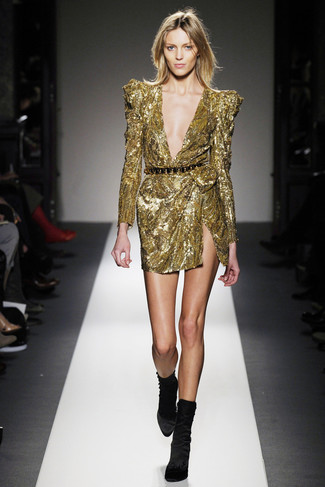 How to wear: gold sequin sheath dress, black velvet ankle boots, black and gold waist belt