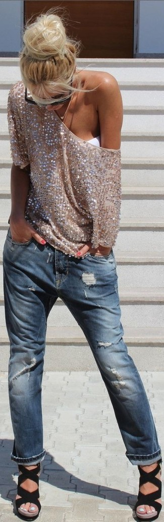 How to wear: gold sequin short sleeve blouse, blue ripped boyfriend jeans, black elastic heeled sandals