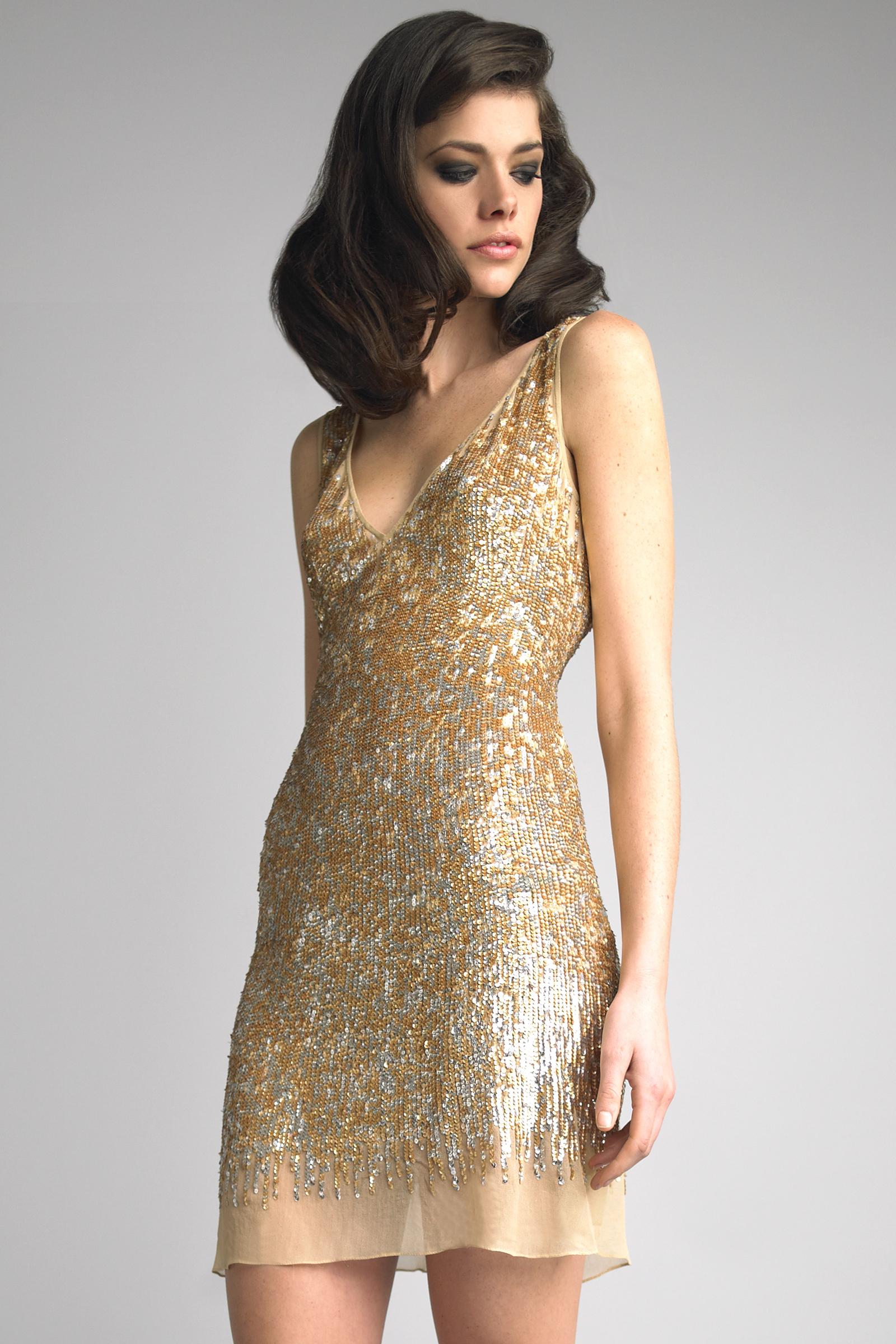 Women&-39-s Gold Sequin Tank Dress - Women&-39-s Fashion