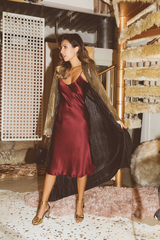 How to wear: gold lightweight trenchcoat, burgundy silk cami dress, gold leather heeled sandals, black leather clutch