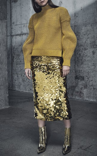 How to wear: gold wool turtleneck, gold sequin pencil skirt, gold leather ankle boots