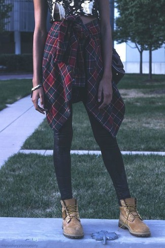 4dfad96f19 ... Women's Green and Red Plaid Dress Shirt, Black and White Floral Cropped  Top, Black