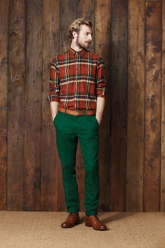 How to wear: green and red plaid long sleeve shirt, dark green chinos, brown leather brogues, brown leather belt