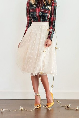 c9fccd3bc7 How to wear: green and red plaid dress shirt, white tulle full skirt,