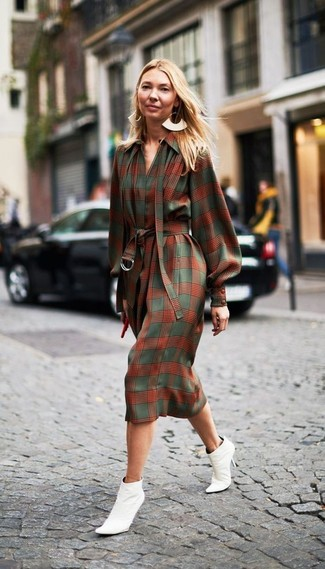 How to wear: green and red shirtdress, white leather ankle boots, gold earrings