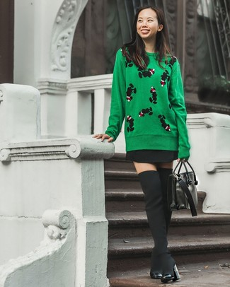 How to wear: green print crew-neck sweater, black skater skirt, black canvas over the knee boots, black leather satchel bag