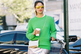 How to wear: green crew-neck sweater, white crew-neck t-shirt, silver pencil skirt, gold clutch