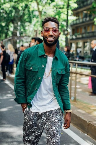 How To Wear a Denim Jacket With Dark Green Chinos | Men's Fashion