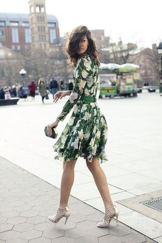 How to wear: green floral skater dress, gold leather heeled sandals, dark green clutch